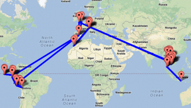 gap year travel plan map rtw