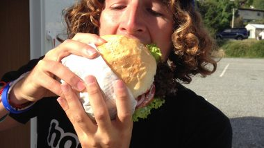 eating a fergburger in queenstown