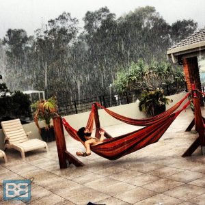 byron bay australia rain backpacker hammock