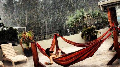 byron bay australia rain backpacker hammock