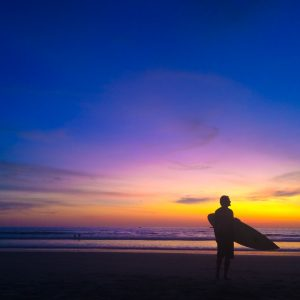 sunset surfer montanita ecuador south america