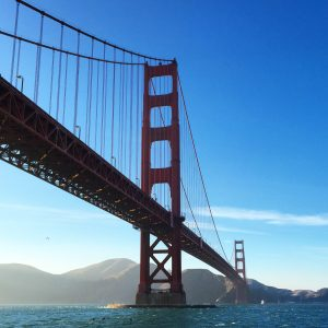 backpacker travel san francisco california golden gate bridge